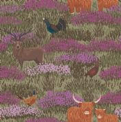 Lewis & Irene - Celtic Coorie - 6772 - Wildlife in the Heather on Olive - A413.3 - Cotton Fabric
